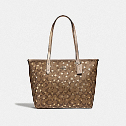 CITY ZIP TOTE IN SIGNATURE CANVAS WITH POP STAR PRINT - KHAKI MULTI /SILVER - COACH F39698