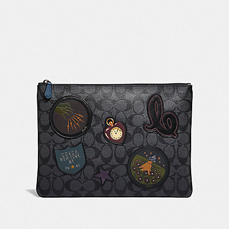 COACH LARGE POUCH IN SIGNATURE CANVAS WITH WIZARD OF OZ PATCHES - CHARCOAL MULTI/BLACK ANTIQUE NICKEL - F39702