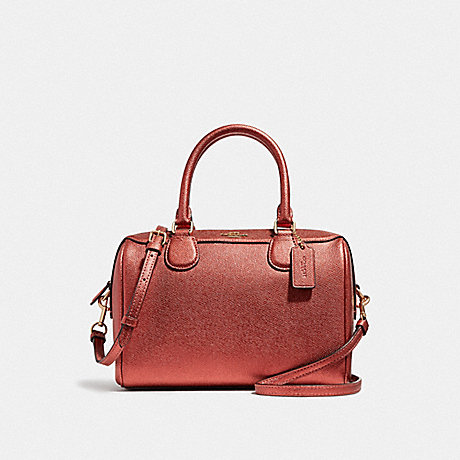 COACH MINI BENNETT SATCHEL - METALLIC CURRANT/LIGHT GOLD - F39706