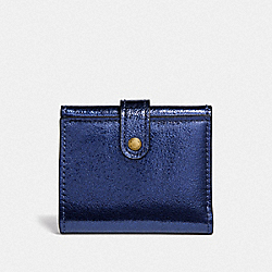 SMALL TRIFOLD WALLET - B4/METALLIC BLUE - COACH F39707