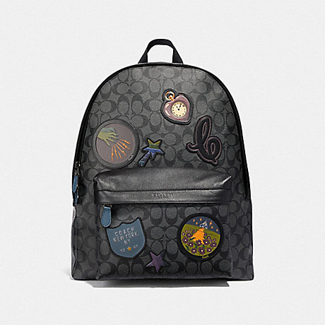 COACH CHARLES BACKPACK IN SIGNATURE CANVAS WITH WIZARD OF OZ PATCHES - CHARCOAL/BLACK/BLACK ANTIQUE NICKEL - F39720