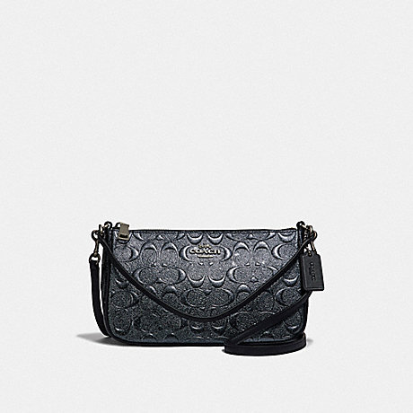 COACH TOP HANDLE POUCH IN SIGNATURE LEATHER - CHARCOAL/BLACK ANTIQUE NICKEL - F39734