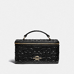 VANITY CASE IN SIGNATURE LEATHER - BLACK/LIGHT GOLD - COACH F39743