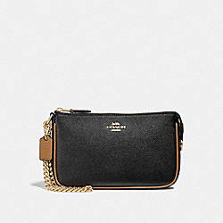 LARGE WRISTLET 19 - BLACK/SADDLE/LIGHT GOLD - COACH F39755