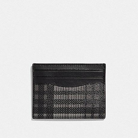 COACH SLIM ID CARD CASE WITH TWILL PLAID PRINT - GREY MULTI/BLACK ANTIQUE NICKEL - F39760