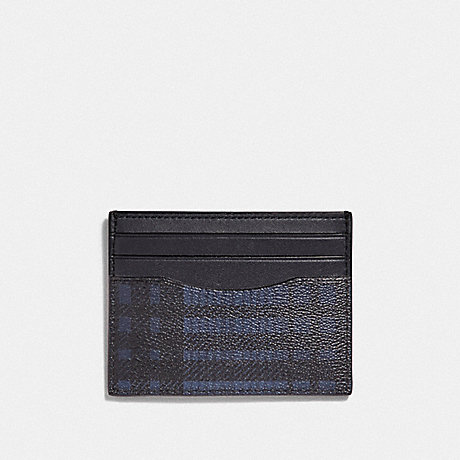 COACH SLIM ID CARD CASE WITH TWILL PLAID PRINT - MIDNIGHT NAVY MULTI/BLACK ANTIQUE NICKEL - F39760