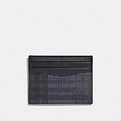 SLIM ID CARD CASE WITH TWILL PLAID PRINT - MIDNIGHT NAVY MULTI/BLACK ANTIQUE NICKEL - COACH F39760