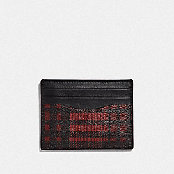 SLIM ID CARD CASE WITH TWILL PLAID PRINT - RED MULTI/BLACK ANTIQUE NICKEL - COACH F39760