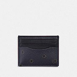 SLIM ID CARD CASE WITH SPIKY DIAMOND PRINT - MIDNIGHT NAVY MULTI/BLACK ANTIQUE NICKEL - COACH F39761