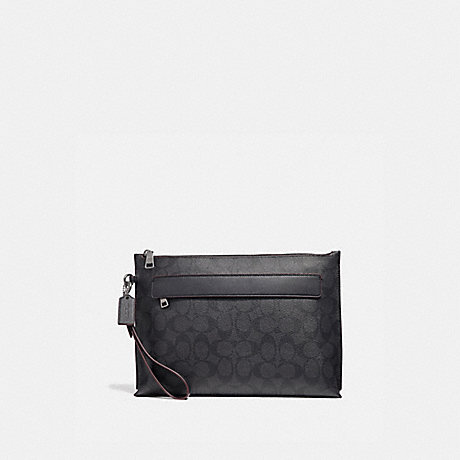 COACH CARRYALL POUCH IN SIGNATURE CANVAS - BLACK/BLACK/OXBLOOD - F39763