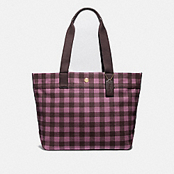 TOTE WITH GINGHAM PRINT - PRIMROSE/MULTI/LIGHT GOLD - COACH F39848
