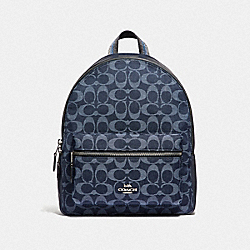 MEDIUM CHARLIE BACKPACK IN SIGNATURE DENIM - DENIM/SILVER - COACH F39896