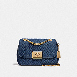 CASSIDY CROSSBODY WITH QUILTING - DENIM/LIGHT GOLD - COACH F39906