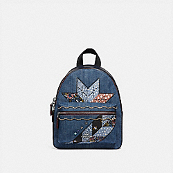 MINI CHARLIE BACKPACK WITH STAR PATCHWORK - DENIM MULTI/SILVER - COACH F39917