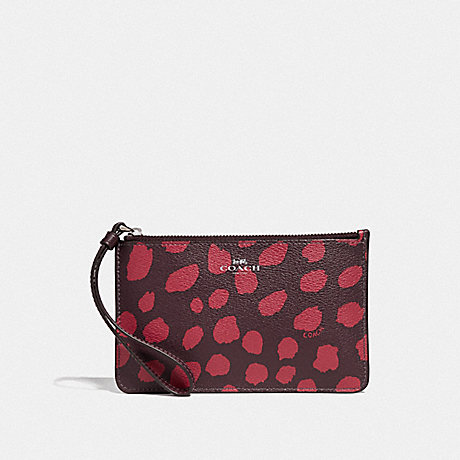 COACH SMALL WRISTLET WITH DEER SPOT PRINT - RASPBERRY/SILVER - F39936
