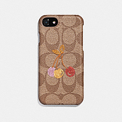 IPHONE 6S/7/8 CASE IN SIGNATURE CANVAS WITH CHERRY PRINT - KHAKI MULTI - COACH F39954