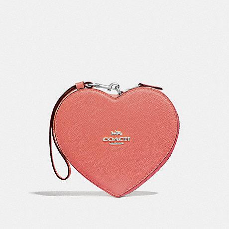 COACH HEART WRISTLET - CORAL/SILVER - F39957