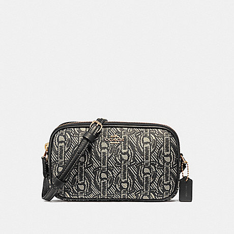 COACH CROSSBODY POUCH WITH CHAIN PRINT - BLACK/LIGHT GOLD - F40112