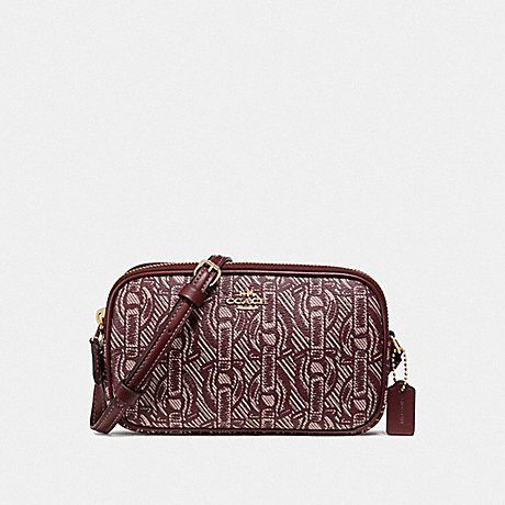 COACH CROSSBODY POUCH WITH CHAIN PRINT - CLARET/LIGHT GOLD - F40112