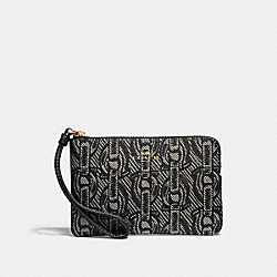 CORNER ZIP WRISTLET WITH CHAIN PRINT - BLACK/LIGHT GOLD - COACH F40113