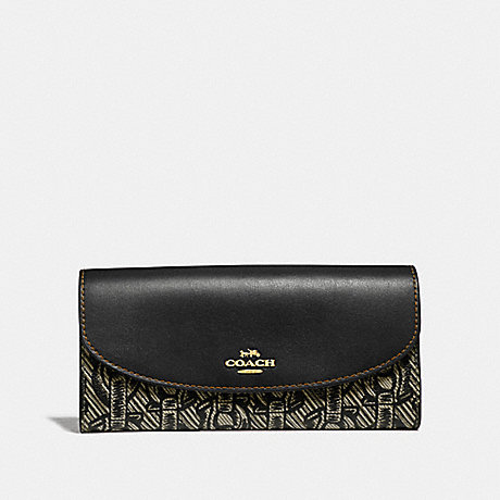 COACH SLIM ENVELOPE WALLET WITH CHAIN PRINT - BLACK/LIGHT GOLD - F40116