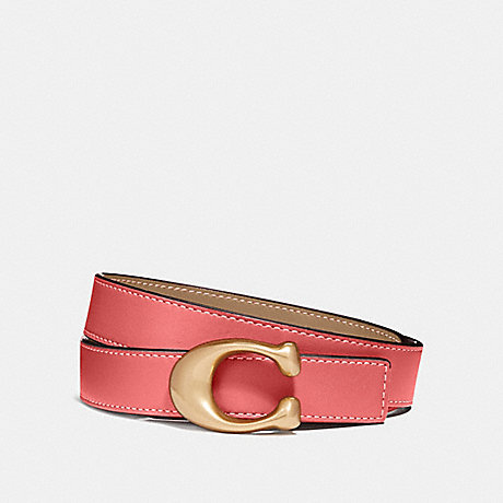 COACH SIGNATURE BUCKLE REVERSIBLE BELT, 25MM - B4/BRIGHT CORAL/BEECHWOOD - F40119