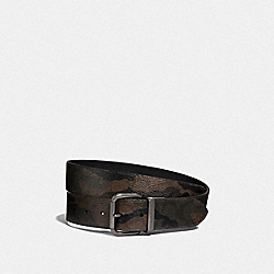 DAPPED COACH ROLLER CUT-TO-SIZE REVERSIBLE BELT IN SIGNATURE CANVAS WITH HALFTONE CAMO PRINT - GREEN MULTI/BLACK ANTIQUE NICKEL - COACH F40361