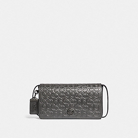 COACH DINKY IN SIGNATURE LEATHER - METALLIC GRAPHITE/PEWTER - F40649