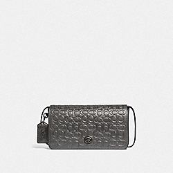 DINKY IN SIGNATURE LEATHER - METALLIC GRAPHITE/PEWTER - COACH F40649