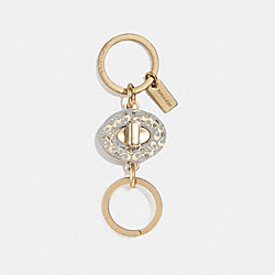 SIGNATURE TURNLOCK VALET KEY RING - CHALK/GOLD - COACH F40682