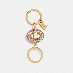 SIGNATURE TURNLOCK VALET KEY RING - PETAL/GOLD - COACH F40682