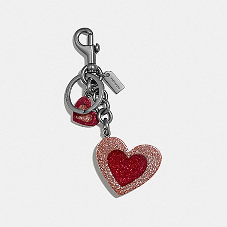 COACH HEART MIX BAG CHARM - PINK/BLACK - F40683