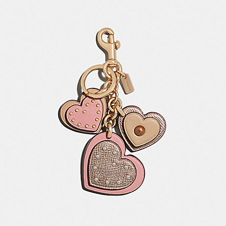 COACH STUDDED HEART APPLIQUE BAG CHARM - PETAL/GOLD - F40696