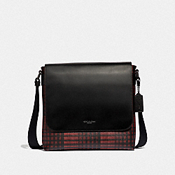 CHARLES SMALL MESSENGER WITH TWILL PLAID PRINT - RED MULTI/BLACK ANTIQUE NICKEL - COACH F40723