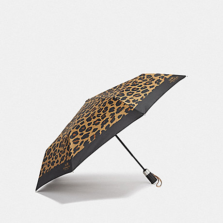 COACH UMBRELLA WITH LEOPARD PRINT - MULTICOLOR/SILVER - F41031