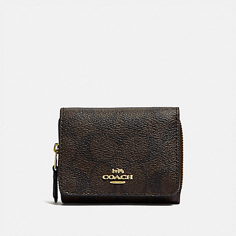 COACH SMALL TRIFOLD WALLET IN SIGNATURE CANVAS - BROWN/BLACK/LIGHT GOLD - F41302