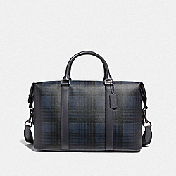 VOYAGER BAG WITH TWILL PLAID PRINT - MIDNIGHT NAVY MULTI/BLACK ANTIQUE NICKEL - COACH F41312