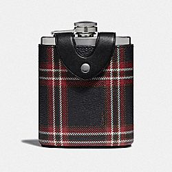 FLASK WITH SCRIPT PLAID PRINT - MIDNIGHT NAVY MULTI/BLACK ANTIQUE NICKEL - COACH F41347