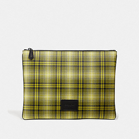 COACH LARGE POUCH WITH SOFT PLAID PRINT - NEON YELLOW MULTI/BLACK ANTIQUE NICKEL - F41349