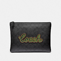 LARGE POUCH IN SIGNATURE CANVAS WITH COACH SCRIPT - BLACK/BLACK MULTI/BLACK ANTIQUE NICKEL - COACH F41350