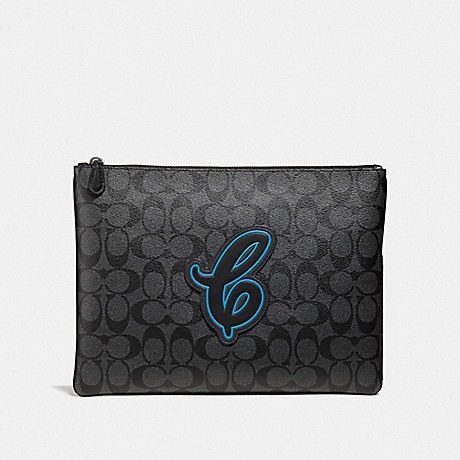 COACH LARGE POUCH IN SIGNATURE CANVAS WITH COACH MOTIF - NEON BLUE MULTI/BLACK ANTIQUE NICKEL - F41351
