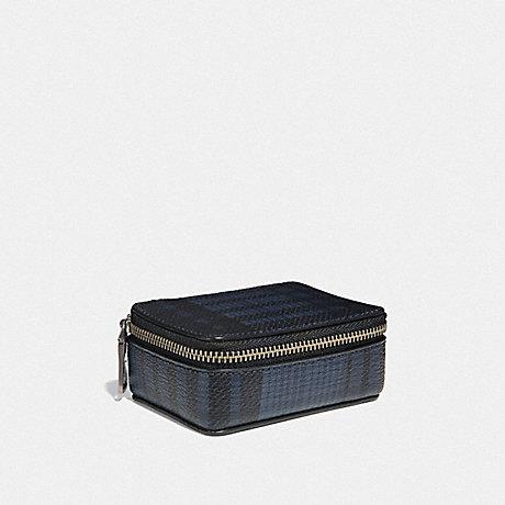 COACH PILL BOX WITH TWILL PLAID PRINT - MIDNIGHT NAVY MULTI/BLACK ANTIQUE NICKEL - F41377