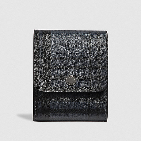 COACH GROOMING KIT WITH TWILL PLAID PRINT - MIDNIGHT NAVY MULTI/BLACK ANTIQUE NICKEL - F41378