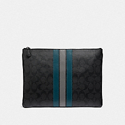 LARGE POUCH IN SIGNATURE CANVAS WITH VARSITY STRIPE - BLACK BLACK MINERAL/BLACK ANTIQUE NICKEL - COACH F41380