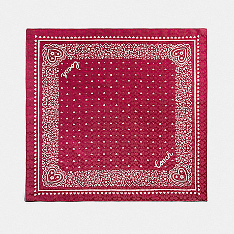 COACH LACE HEART PRINT BANDANA - TRUE RED - F41470
