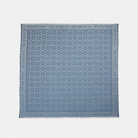 COACH SIGNATURE JACQUARD OVERSIZED SQUARE SCARF - DENIM - F41814