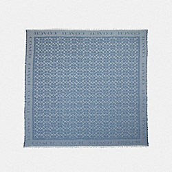 SIGNATURE JACQUARD OVERSIZED SQUARE SCARF - DENIM - COACH F41814