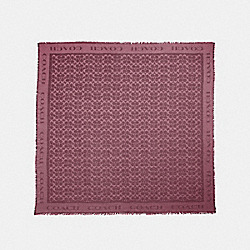SIGNATURE JACQUARD OVERSIZED SQUARE SCARF - WINE - COACH F41814