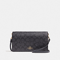 HAYDEN FOLDOVER CROSSBODY CLUTCH IN COLORBLOCK SIGNATURE CANVAS - GD/CHARCOAL MIDNIGHT NAVY - COACH F41920