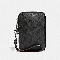 SMALL POUCH IN SIGNATURE CANVAS - BLACK/BLACK/OXBLOOD - COACH F42108